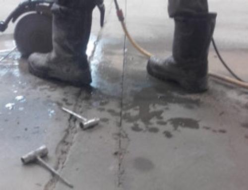 Diamantzaagwerk overgang in betonvloeren herstellen